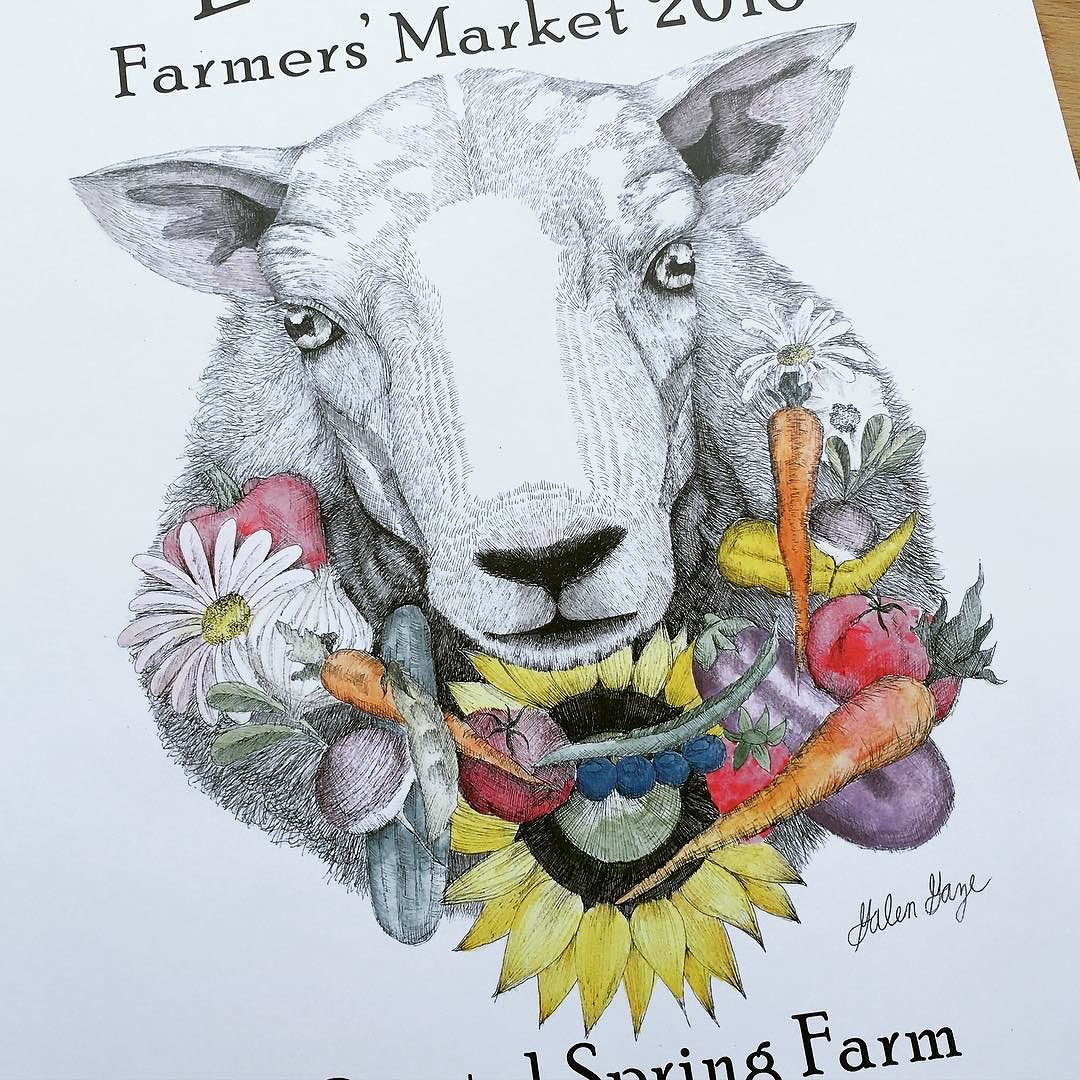 Really great art on this local farmer's market poster #maine #farmersmarket