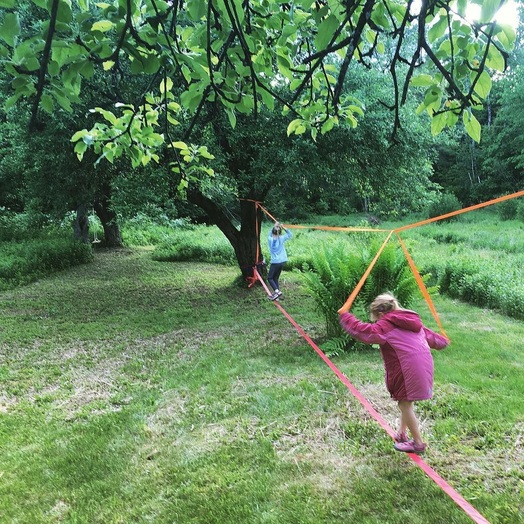 The girls have been clamoring for a slack line 💃🏼💃